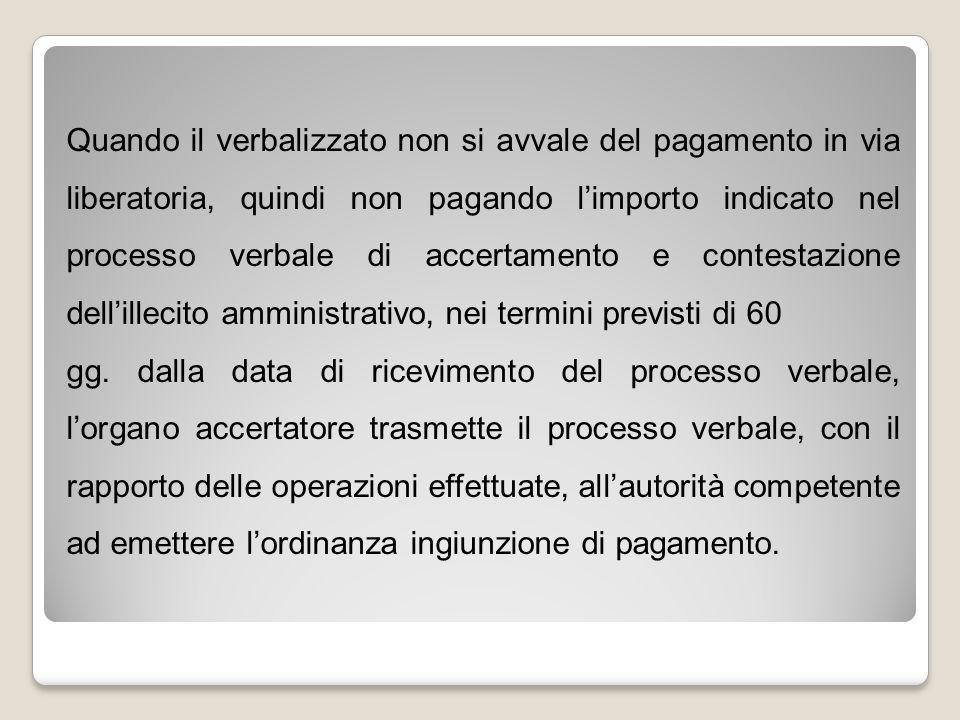 Quando il verbalizzato non si avvale del pagamento in via liberatoria, quindi non pagando l'importo indicato nel processo verbale di accertamento e co