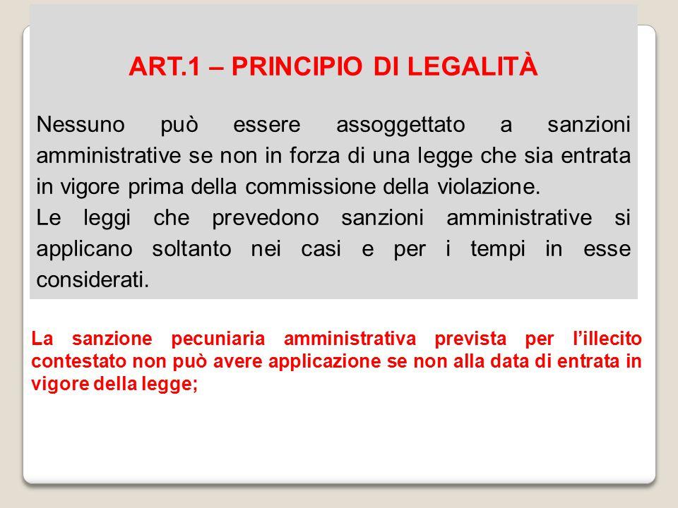 ART.1 – PRINCIPIO DI LEGALITÀ Nessuno può essere assoggettato a sanzioni amministrative se non in forza di una legge che sia entrata in vigore prima d