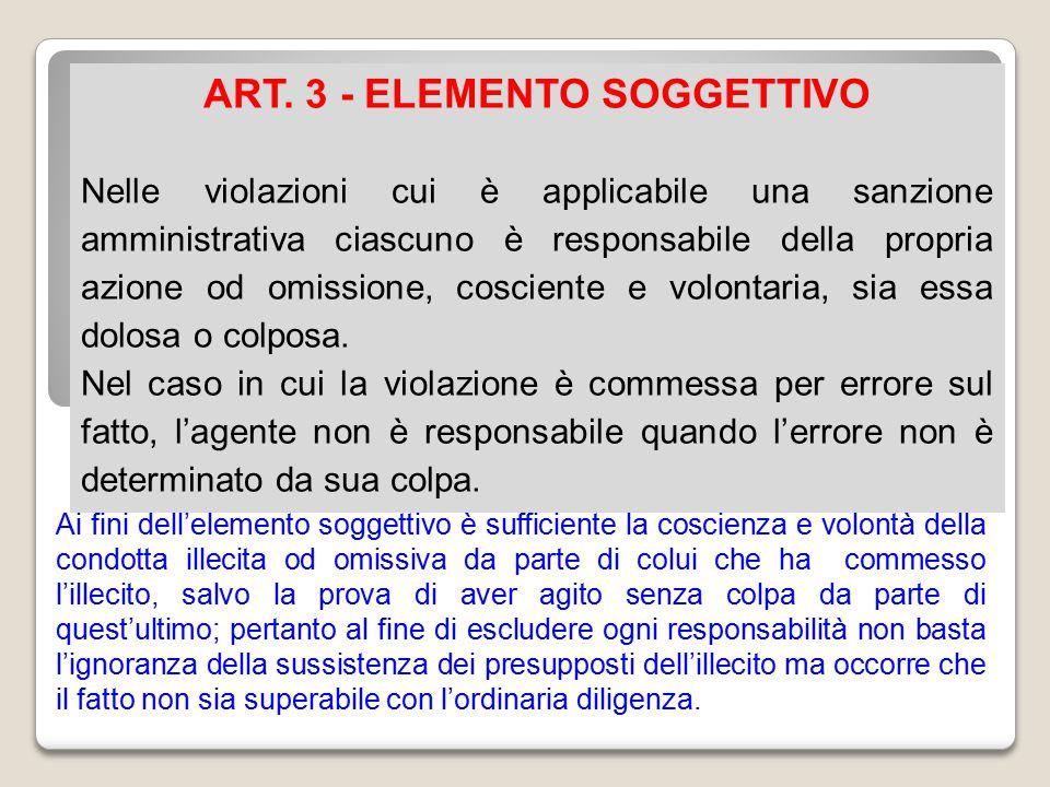 ART. 3 - ELEMENTO SOGGETTIVO Nelle violazioni cui è applicabile una sanzione amministrativa ciascuno è responsabile della propria azione od omissione,