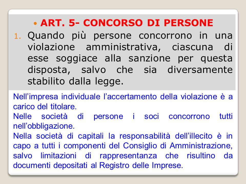 ART. 5- CONCORSO DI PERSONE 1. Quando più persone concorrono in una violazione amministrativa, ciascuna di esse soggiace alla sanzione per questa disp