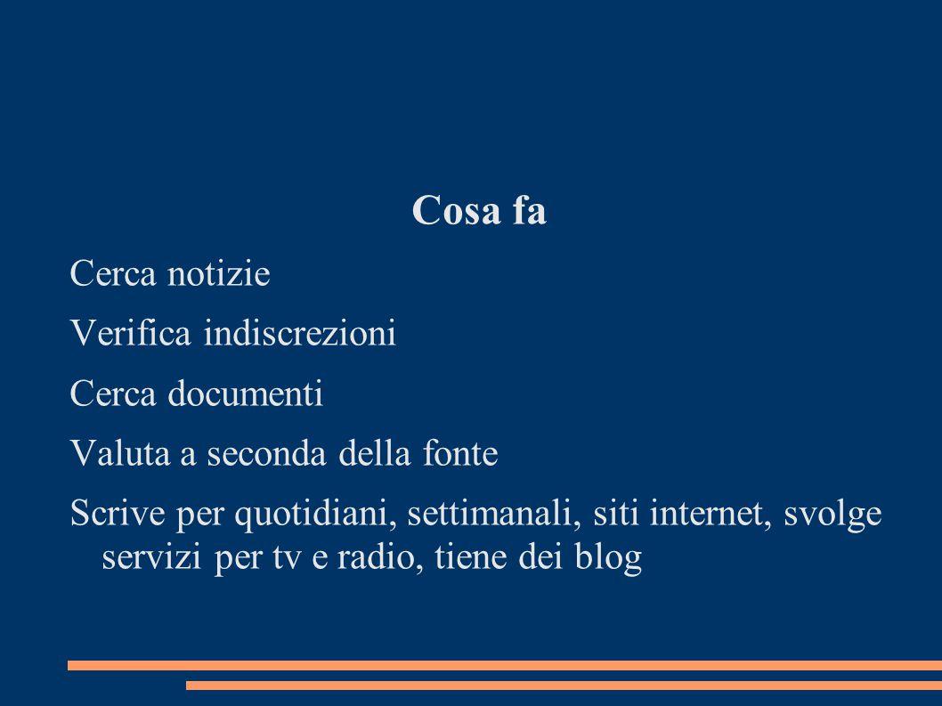 Cosa fa Cerca notizie Verifica indiscrezioni Cerca documenti Valuta a seconda della fonte Scrive per quotidiani, settimanali, siti internet, svolge servizi per tv e radio, tiene dei blog