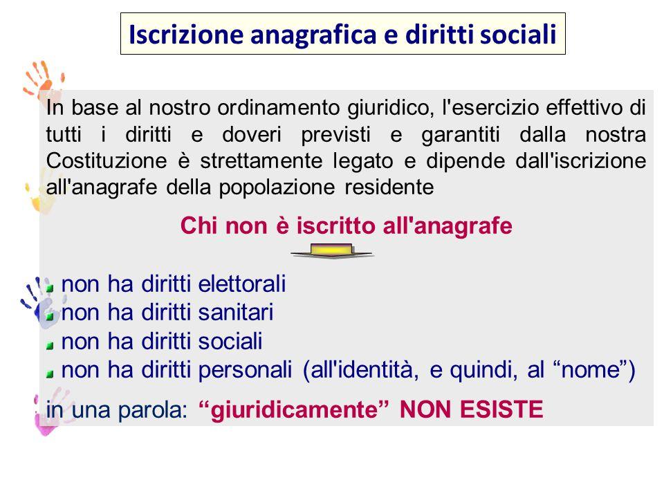 Posizioni che non comportano l iscrizione anagrafica (art.