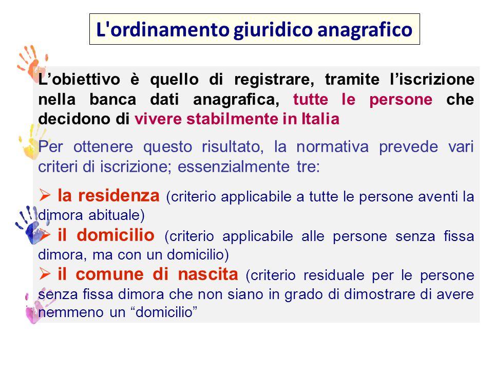 Questi criteri, se correttamente applicati, fanno sì che TUTTE le persone che vivono stabilmente in Italia siano iscritte all'anagrafe La non iscrizione anagrafica di chi si trovi in queste condizioni, costituisce una ferita nel sistema giuridico anagrafico, per il quale l iscrizione nei registri anagrafici è un diritto-dovere di tutti i residenti italiani, comunitari e stranieri regolarmente soggiornanti Le modalità sono altrettanto chiare: obbligo per gli interessati di rendere la dichiarazione di residenza obbligo di iscrizione d ufficio in caso di mancata dichiarazione L ordinamento giuridico anagrafico