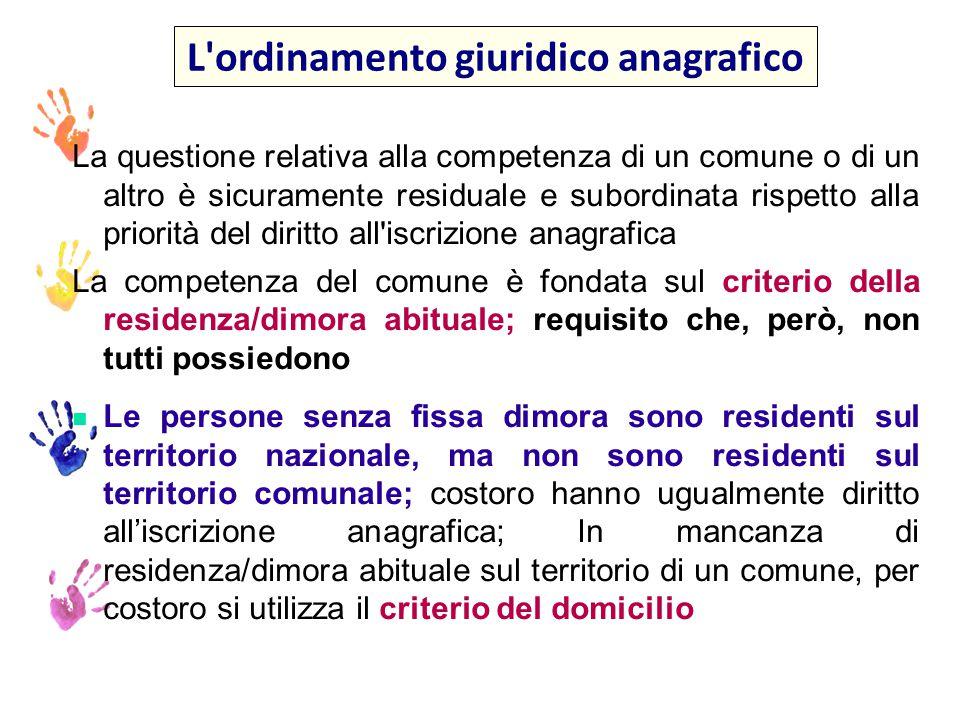 Art.43 del codice civile: La residenza è nel luogo in cui la persona ha la dimora abituale Artt.