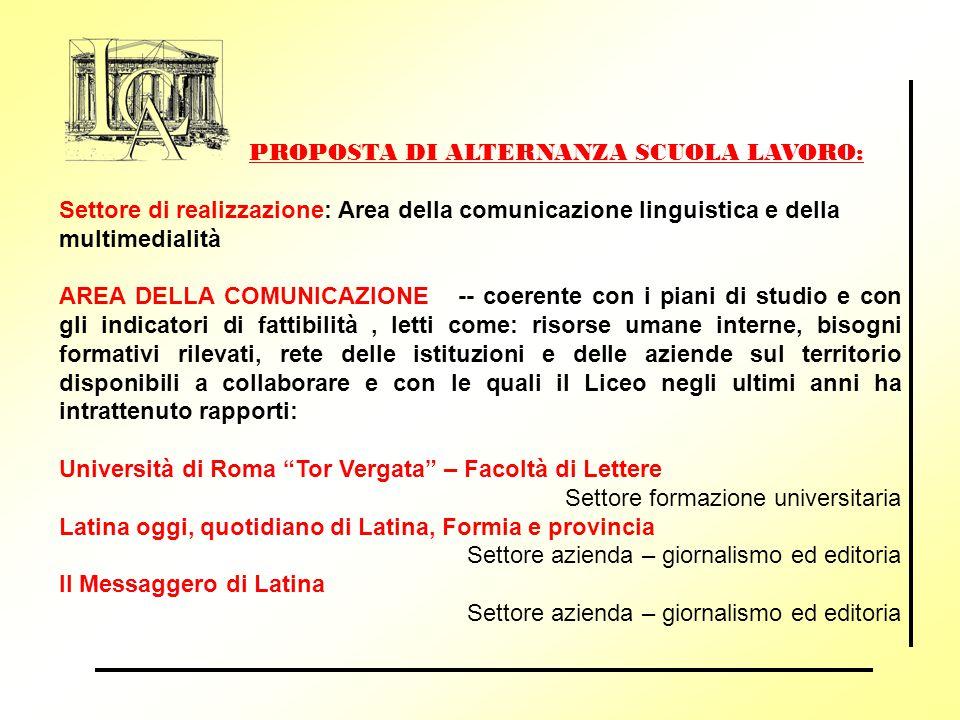 PROPOSTA DI ALTERNANZA SCUOLA LAVORO: Settore di realizzazione: Area della comunicazione linguistica e della multimedialità AREA DELLA COMUNICAZIONE -