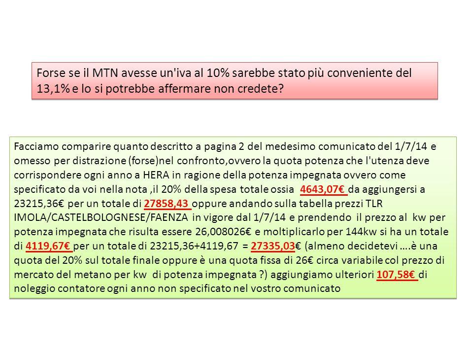 Forse se il MTN avesse un'iva al 10% sarebbe stato più conveniente del 13,1% e lo si potrebbe affermare non credete? Facciamo comparire quanto descrit
