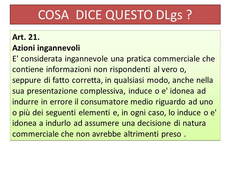 COSA DICE QUESTO DLgs . Art. 21.