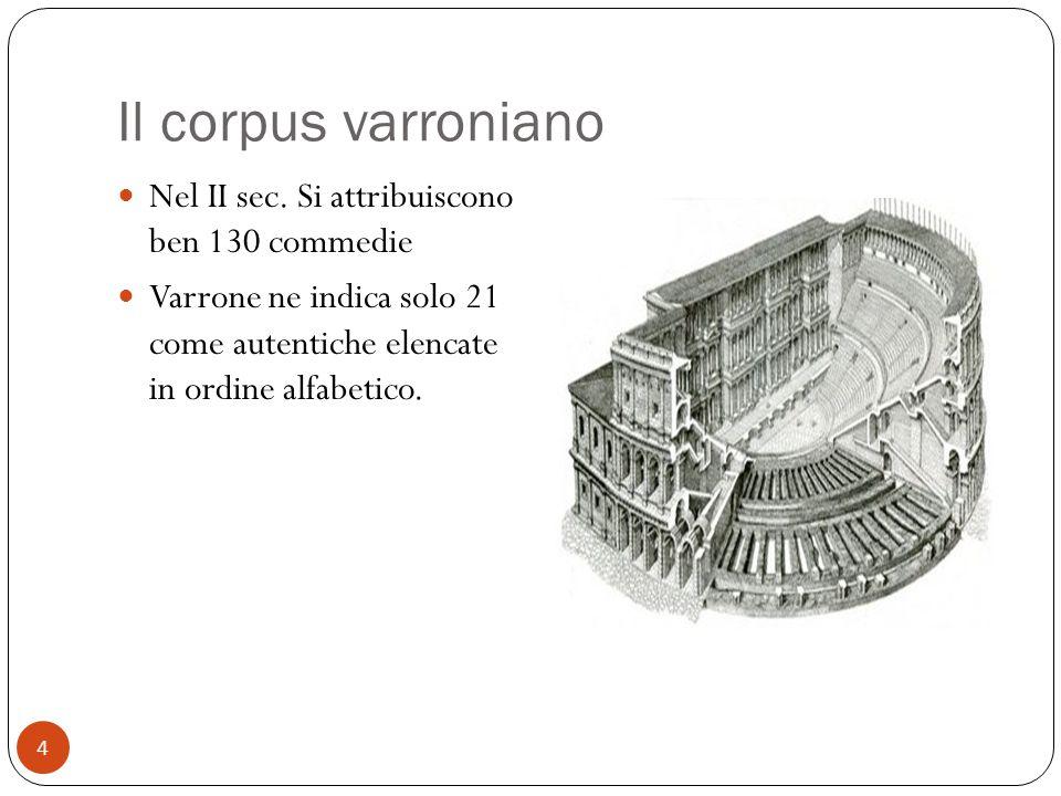 Il corpus varroniano Nel II sec. Si attribuiscono ben 130 commedie Varrone ne indica solo 21 come autentiche elencate in ordine alfabetico. 4