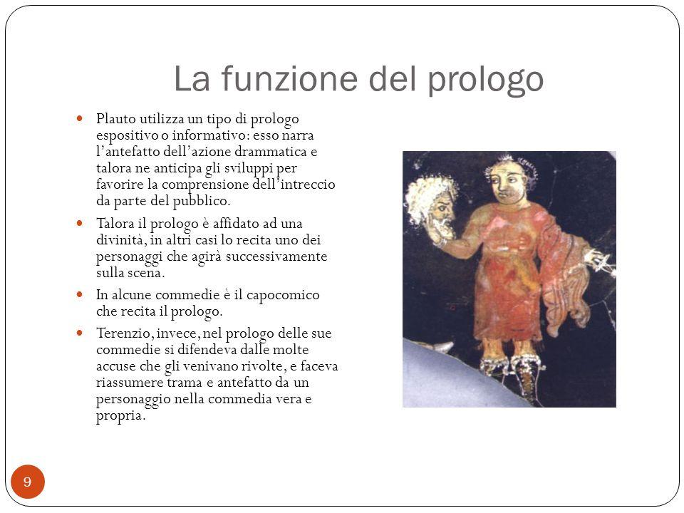 La funzione del prologo Plauto utilizza un tipo di prologo espositivo o informativo: esso narra l'antefatto dell'azione drammatica e talora ne anticip