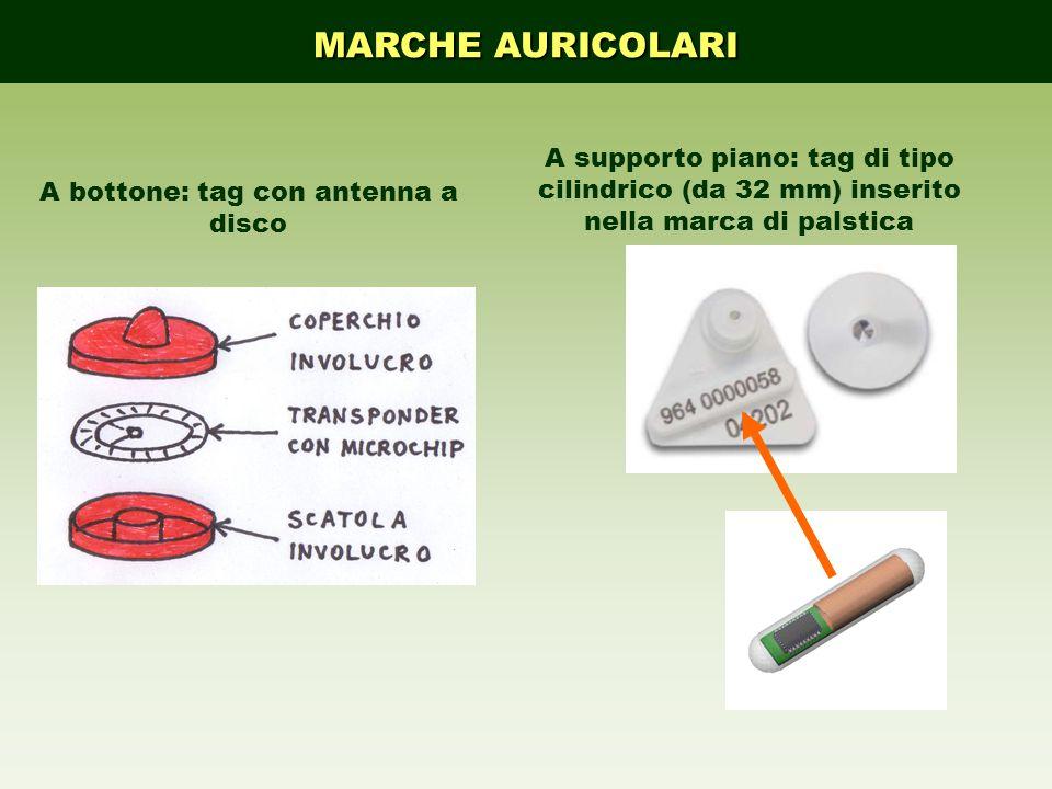 MARCHE AURICOLARI A supporto piano: tag di tipo cilindrico (da 32 mm) inserito nella marca di palstica A bottone: tag con antenna a disco
