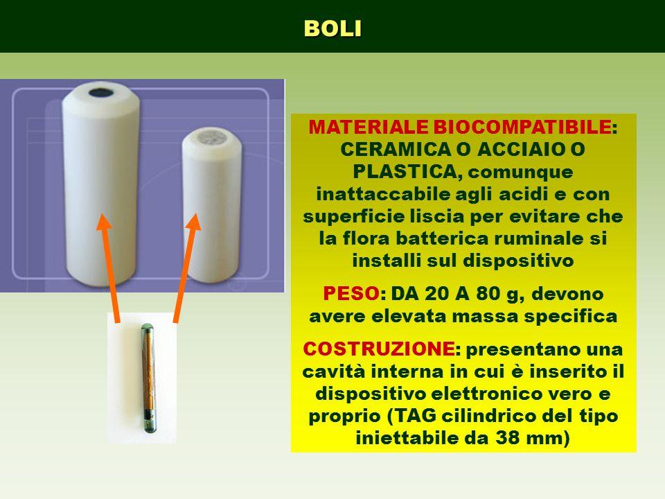 BOLI MATERIALE BIOCOMPATIBILE: CERAMICA O ACCIAIO O PLASTICA, comunque inattaccabile agli acidi e con superficie liscia per evitare che la flora batterica ruminale si installi sul dispositivo PESO: DA 20 A 80 g, devono avere elevata massa specifica COSTRUZIONE: presentano una cavità interna in cui è inserito il dispositivo elettronico vero e proprio (TAG cilindrico del tipo iniettabile da 38 mm)