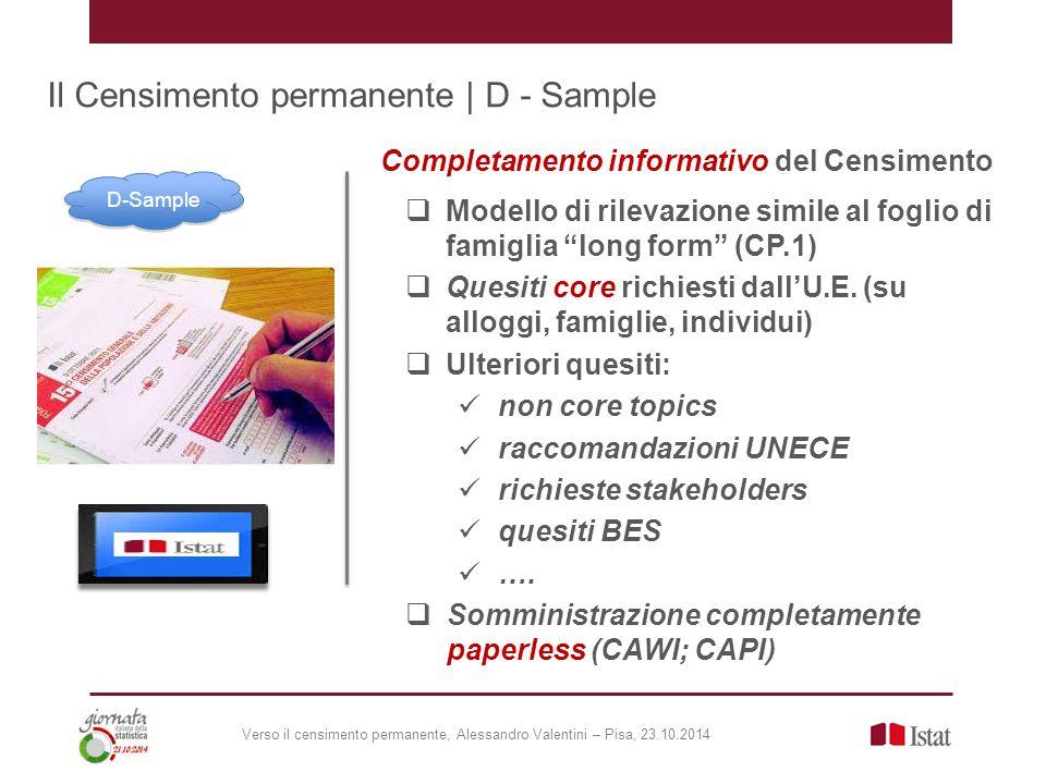 Il Censimento permanente | D - Sample  Modello di rilevazione simile al foglio di famiglia long form (CP.1)  Quesiti core richiesti dall'U.E.
