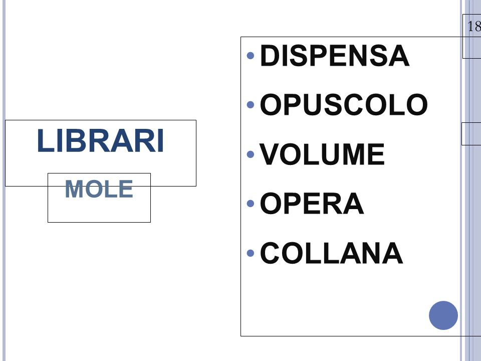 18/03/15 LIBRARI MOLE DISPENSA OPUSCOLO VOLUME OPERA COLLANA