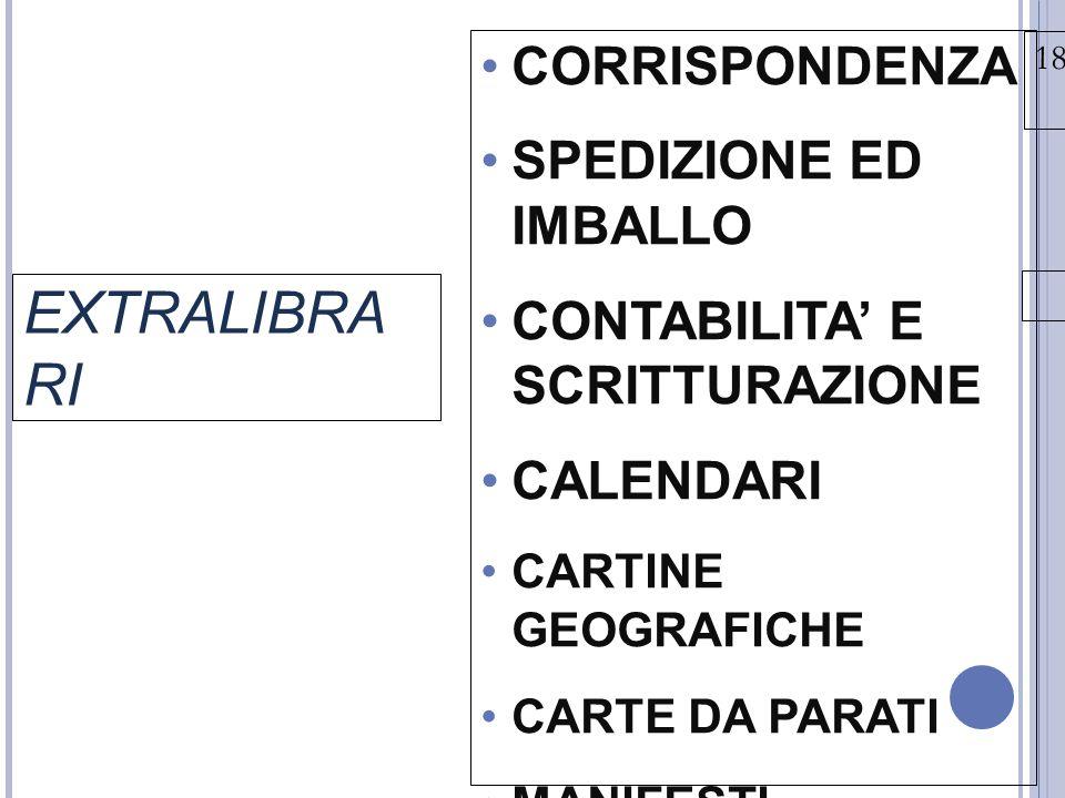 18/03/15 EXTRALIBRA RI CORRISPONDENZA SPEDIZIONE ED IMBALLO CONTABILITA' E SCRITTURAZIONE CALENDARI CARTINE GEOGRAFICHE CARTE DA PARATI MANIFESTI