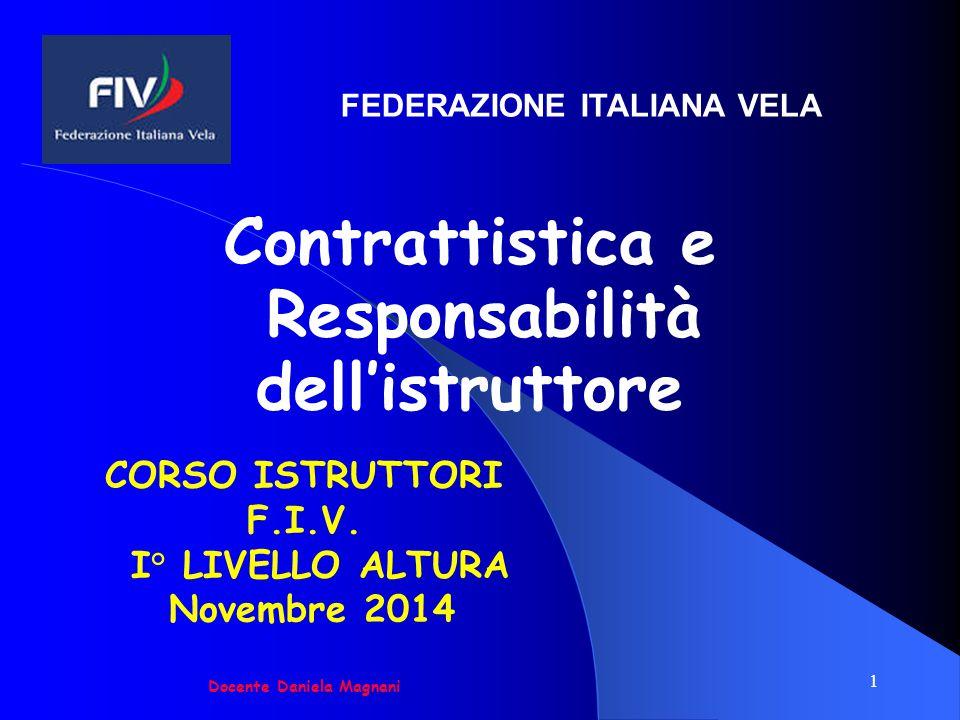 1 CORSO ISTRUTTORI F.I.V. I° LIVELLO ALTURA Novembre 2014 Docente Daniela Magnani Contrattistica e Responsabilità dell'istruttore FEDERAZIONE ITALIANA