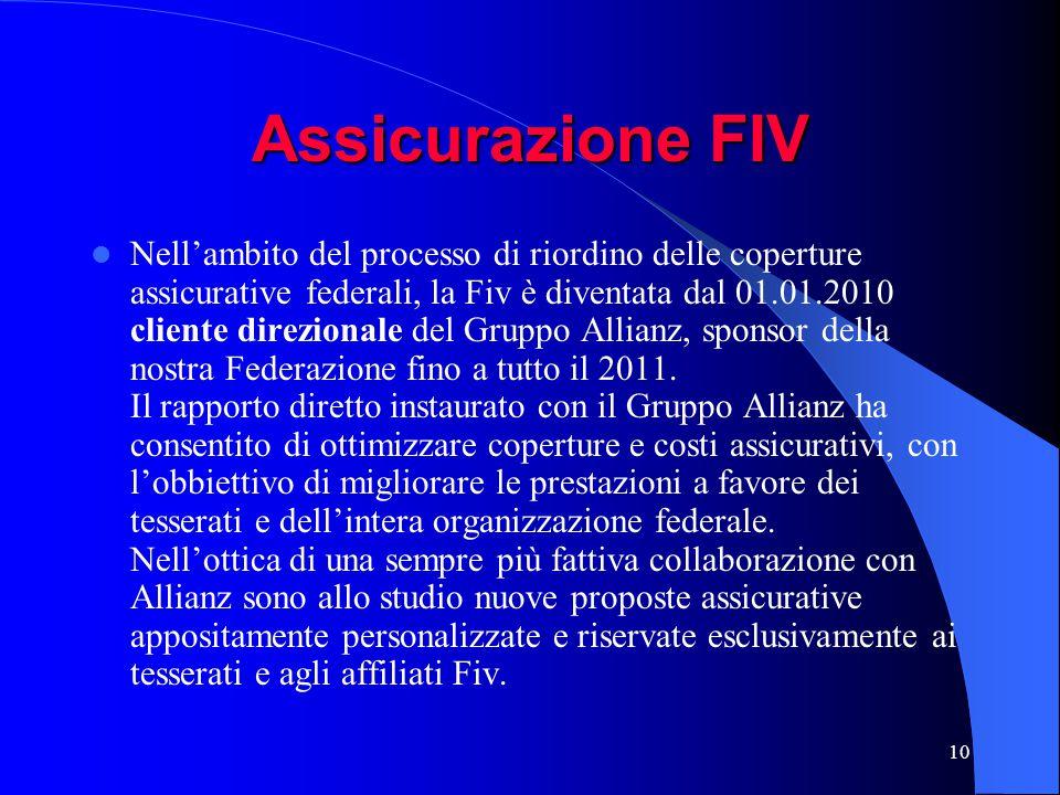 10 Assicurazione FIV Nell'ambito del processo di riordino delle coperture assicurative federali, la Fiv è diventata dal 01.01.2010 cliente direzionale