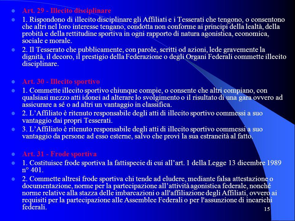 15 Art. 29 - Illecito disciplinare 1. Rispondono di illecito disciplinare gli Affiliati e i Tesserati che tengono, o consentono che altri nel loro int