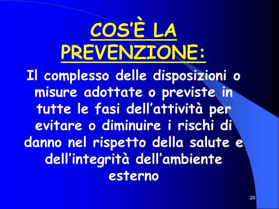 20 COS'È LA PREVENZIONE: Il complesso delle disposizioni o misure adottate o previste in tutte le fasi dell'attività per evitare o diminuire i rischi