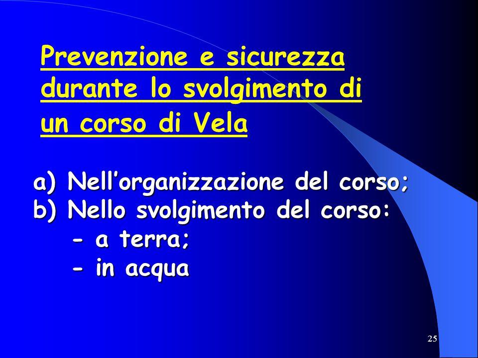 25 Prevenzione e sicurezza durante lo svolgimento di un corso di Vela a) Nell'organizzazione del corso; b) Nello svolgimento del corso: - a terra; - i
