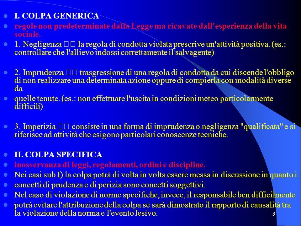 3 I. COLPA GENERICA regole non predeterminate dalla Legge ma ricavate dall'esperienza della vita sociale. 1. Negligenza la regola di condotta violata