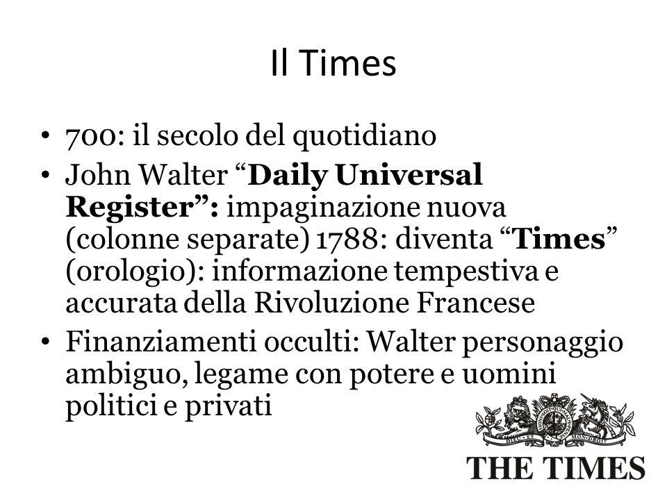 """Il Times 700: il secolo del quotidiano John Walter """"Daily Universal Register"""": impaginazione nuova (colonne separate) 1788: diventa """"Times"""" (orologio)"""
