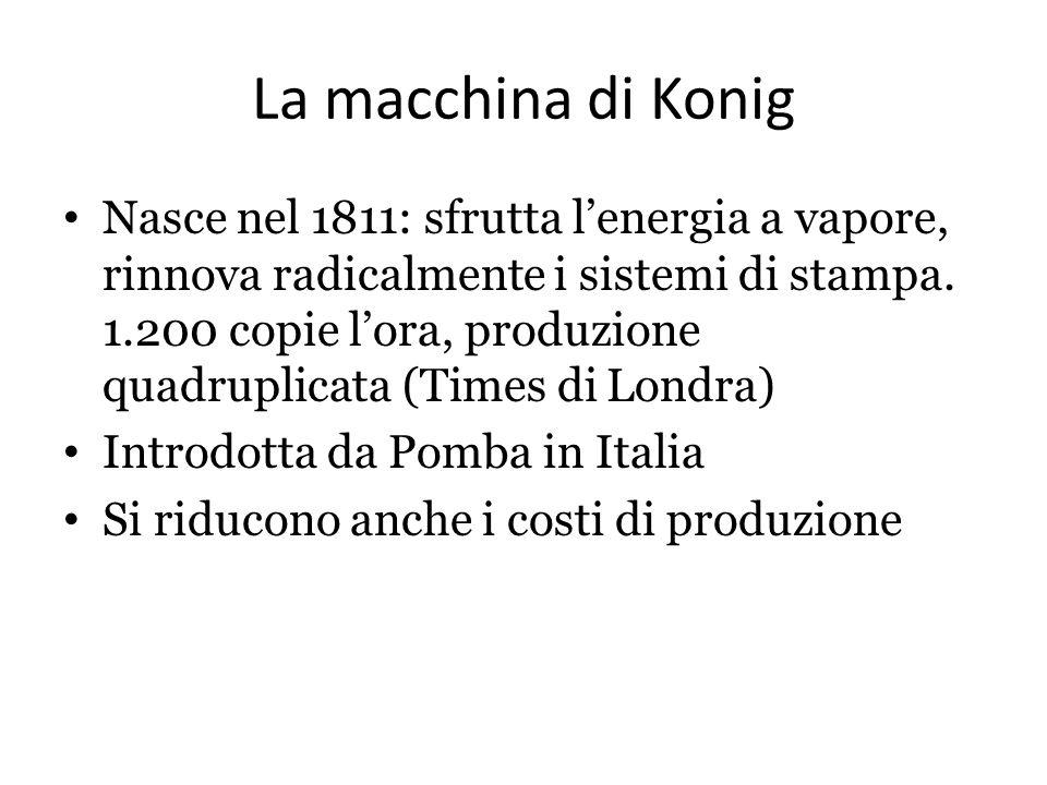 La macchina di Konig Nasce nel 1811: sfrutta l'energia a vapore, rinnova radicalmente i sistemi di stampa. 1.200 copie l'ora, produzione quadruplicata