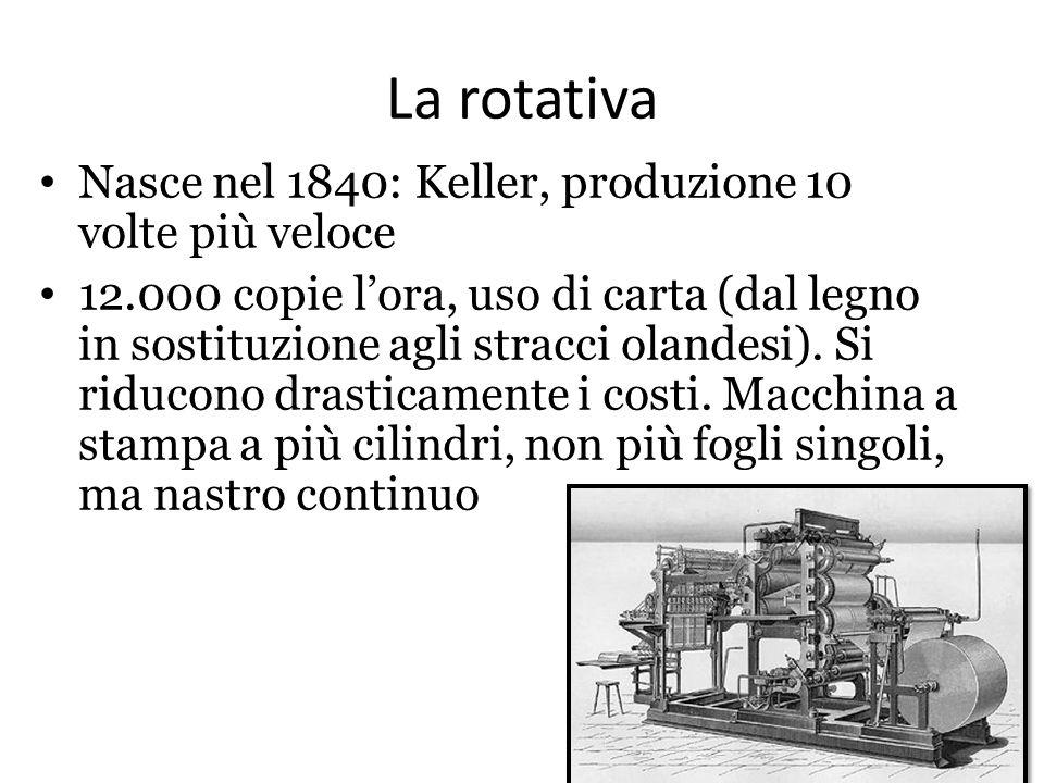 La rotativa Nasce nel 1840: Keller, produzione 10 volte più veloce 12.000 copie l'ora, uso di carta (dal legno in sostituzione agli stracci olandesi).