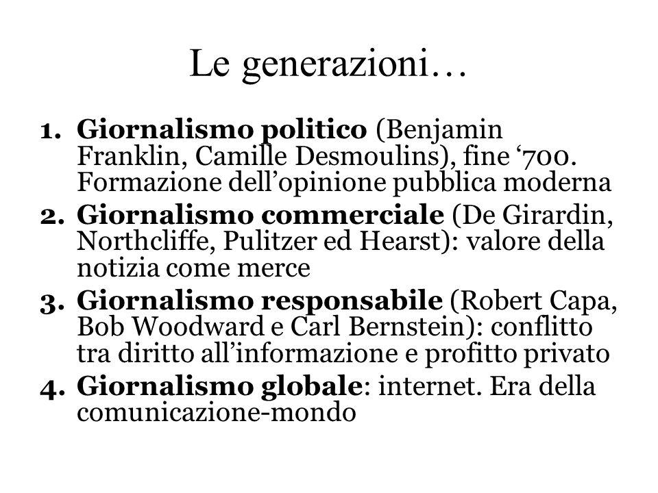 Le generazioni… 1.Giornalismo politico (Benjamin Franklin, Camille Desmoulins), fine '700. Formazione dell'opinione pubblica moderna 2.Giornalismo com