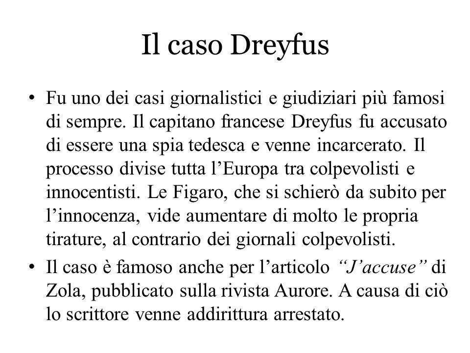 Il caso Dreyfus Fu uno dei casi giornalistici e giudiziari più famosi di sempre. Il capitano francese Dreyfus fu accusato di essere una spia tedesca e