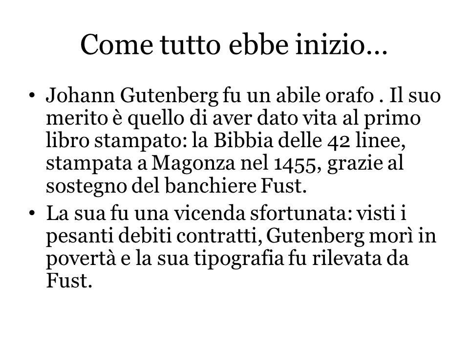 La vera invenzione L'innovazione di Gutenberg fu la stampa a caratteri mobili.