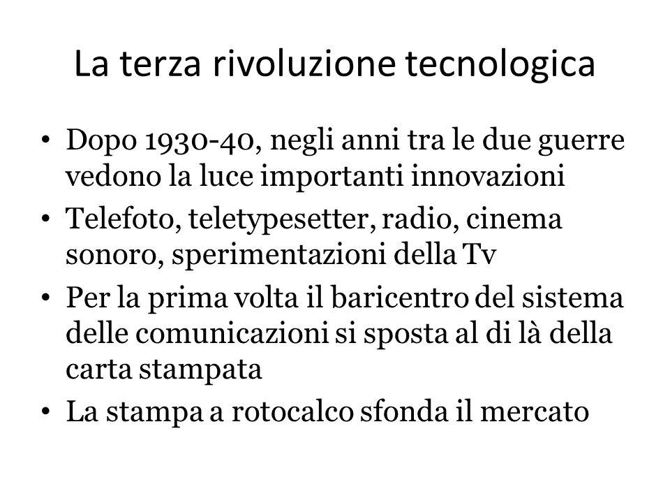 La terza rivoluzione tecnologica Dopo 1930-40, negli anni tra le due guerre vedono la luce importanti innovazioni Telefoto, teletypesetter, radio, cin