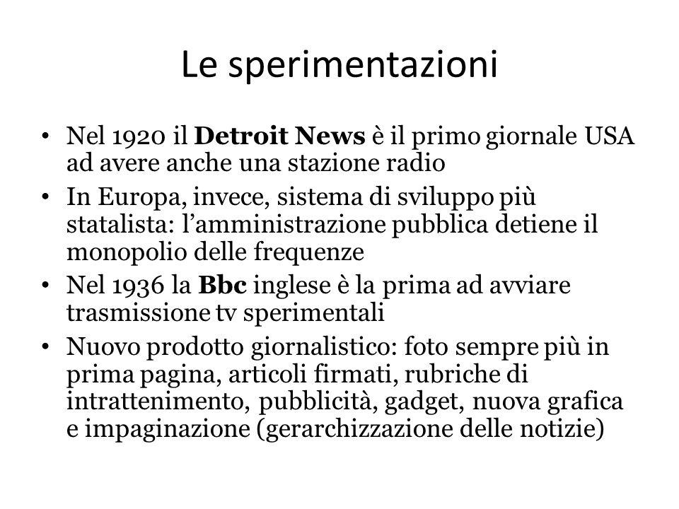 Le sperimentazioni Nel 1920 il Detroit News è il primo giornale USA ad avere anche una stazione radio In Europa, invece, sistema di sviluppo più stata