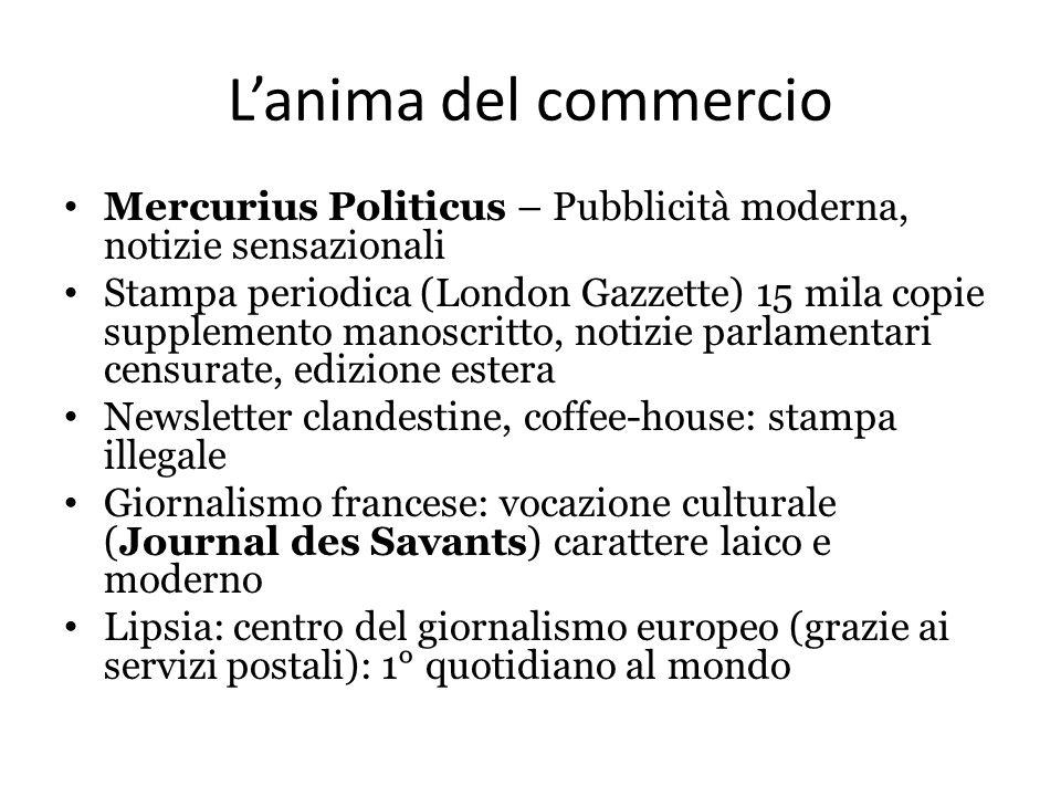 L'anima del commercio Mercurius Politicus – Pubblicità moderna, notizie sensazionali Stampa periodica (London Gazzette) 15 mila copie supplemento mano