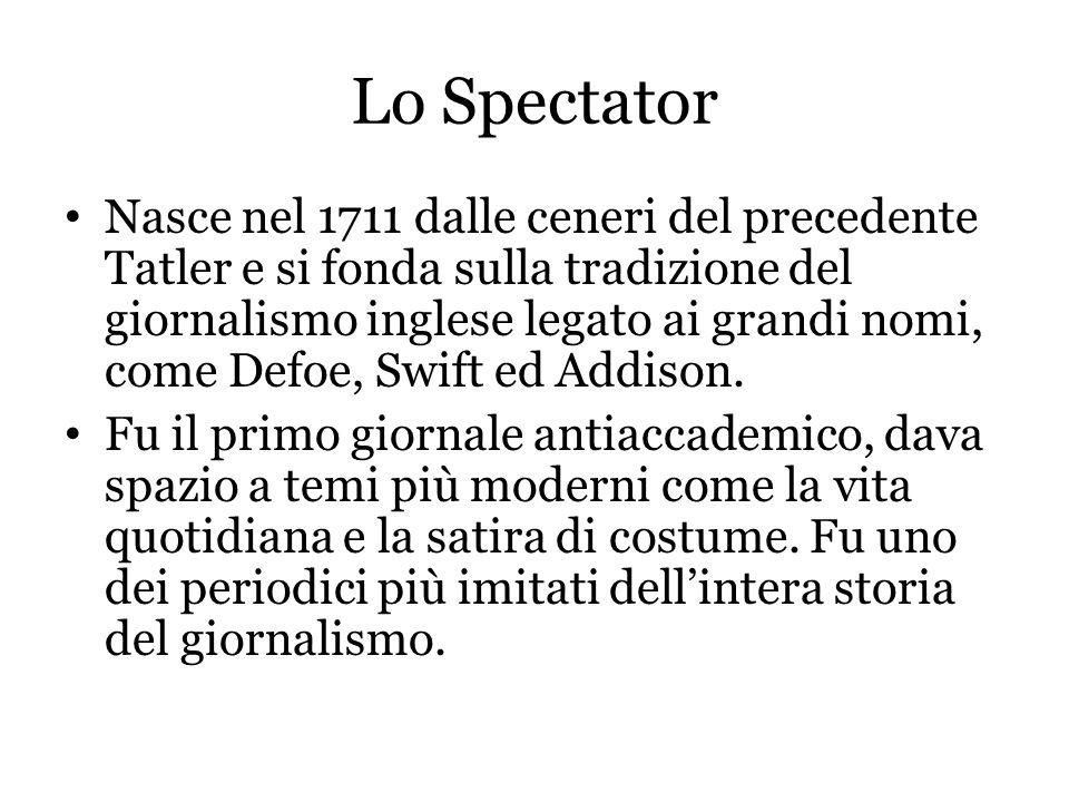 Lo Spectator Nasce nel 1711 dalle ceneri del precedente Tatler e si fonda sulla tradizione del giornalismo inglese legato ai grandi nomi, come Defoe,