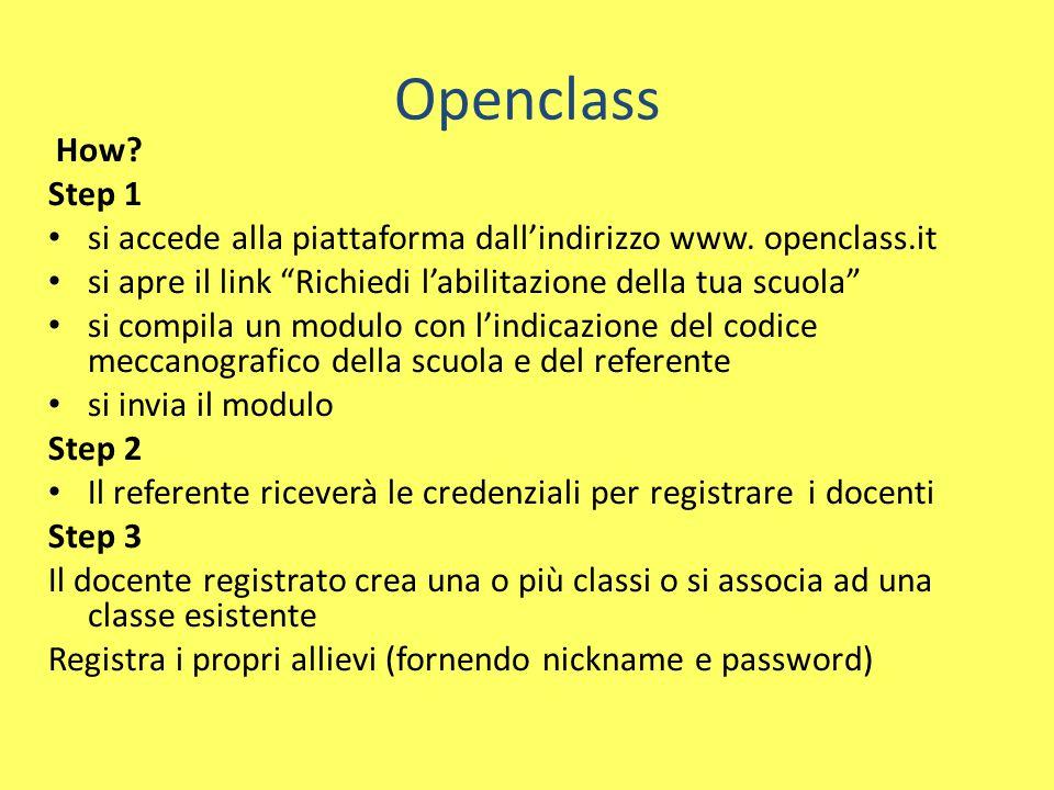 Openclass How. Step 1 si accede alla piattaforma dall'indirizzo www.