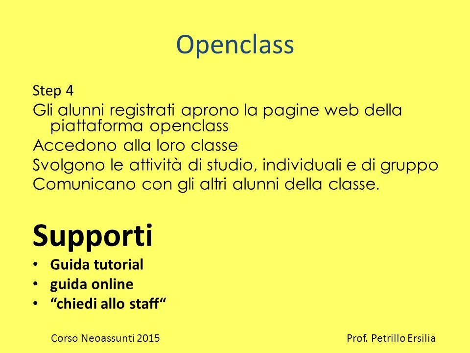 Openclass Step 4 Gli alunni registrati aprono la pagine web della piattaforma openclass Accedono alla loro classe Svolgono le attività di studio, individuali e di gruppo Comunicano con gli altri alunni della classe.