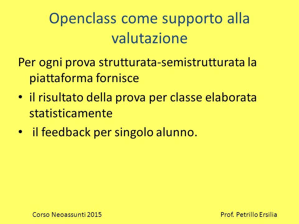 Openclass come supporto alla valutazione Per ogni prova strutturata-semistrutturata la piattaforma fornisce il risultato della prova per classe elaborata statisticamente il feedback per singolo alunno.
