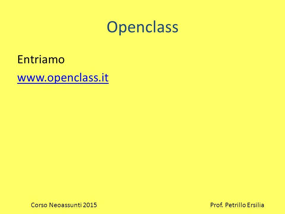 Openclass Entriamo www.openclass.it Corso Neoassunti 2015 Prof. Petrillo Ersilia