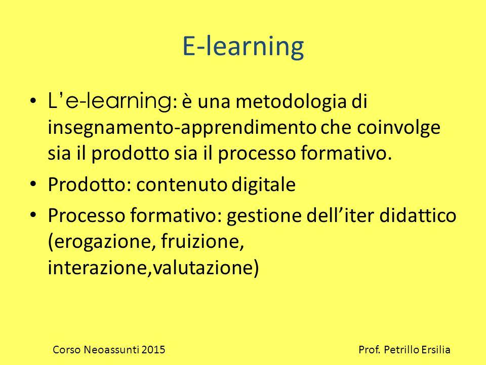E-learning L'e-learning : è una metodologia di insegnamento-apprendimento che coinvolge sia il prodotto sia il processo formativo.