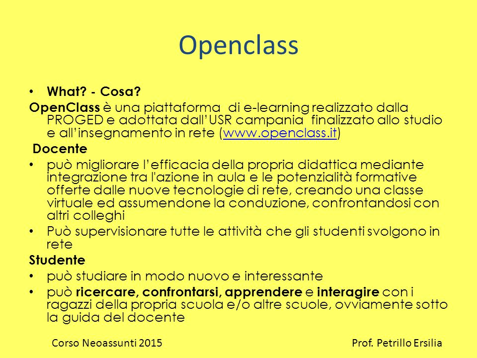 Openclass What.- Cosa.