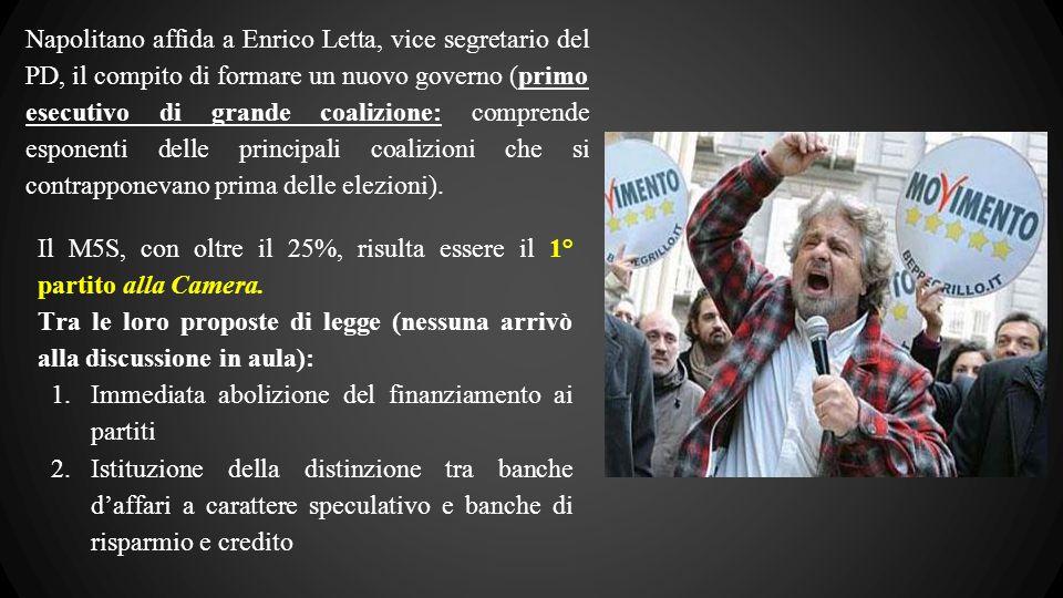 Napolitano affida a Enrico Letta, vice segretario del PD, il compito di formare un nuovo governo (primo esecutivo di grande coalizione: comprende esponenti delle principali coalizioni che si contrapponevano prima delle elezioni).