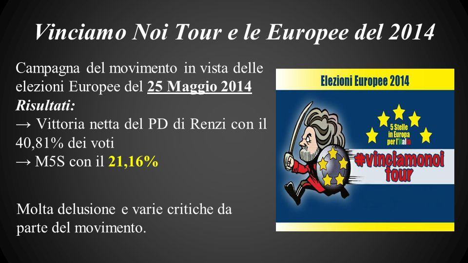 Vinciamo Noi Tour e le Europee del 2014 Campagna del movimento in vista delle elezioni Europee del 25 Maggio 2014 Risultati: → Vittoria netta del PD di Renzi con il 40,81% dei voti → M5S con il 21,16% Molta delusione e varie critiche da parte del movimento.
