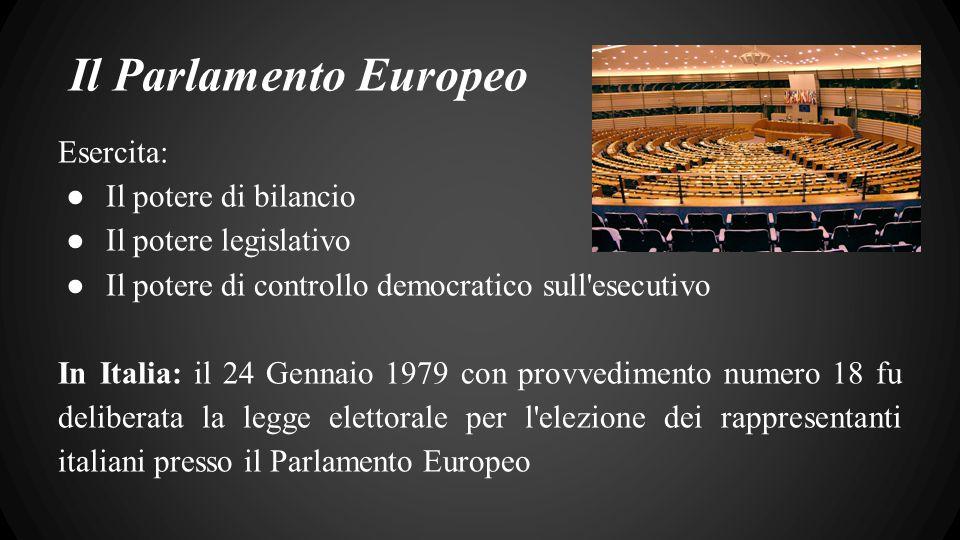 Il Parlamento Europeo Esercita: ● Il potere di bilancio ● Il potere legislativo ● Il potere di controllo democratico sull esecutivo In Italia: il 24 Gennaio 1979 con provvedimento numero 18 fu deliberata la legge elettorale per l elezione dei rappresentanti italiani presso il Parlamento Europeo
