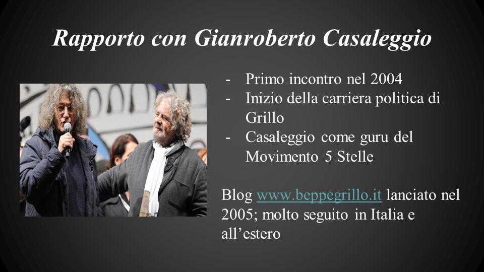 Rapporto con Gianroberto Casaleggio -Primo incontro nel 2004 -Inizio della carriera politica di Grillo -Casaleggio come guru del Movimento 5 Stelle Blog www.beppegrillo.it lanciato nel 2005; molto seguito in Italia e all'esterowww.beppegrillo.it