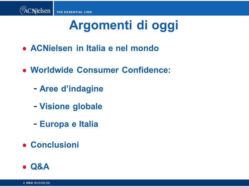 Copyright © 2003 ACNielsen a VNU business 2 Argomenti di oggi ACNielsen in Italia e nel mondo Worldwide Consumer Confidence:  Aree d'indagine  Visione globale  Europa e Italia Conclusioni Q&A