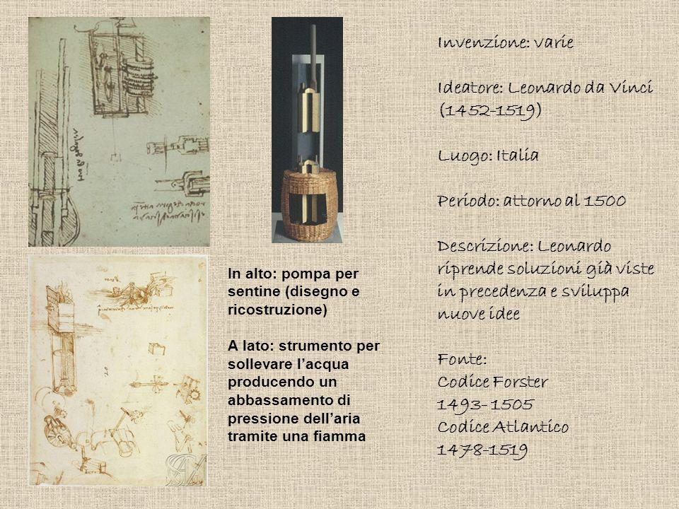 Invenzione: varie Ideatore: Leonardo da Vinci (1452-1519) Luogo: Italia Periodo: attorno al 1500 Descrizione: Leonardo riprende soluzioni già viste in