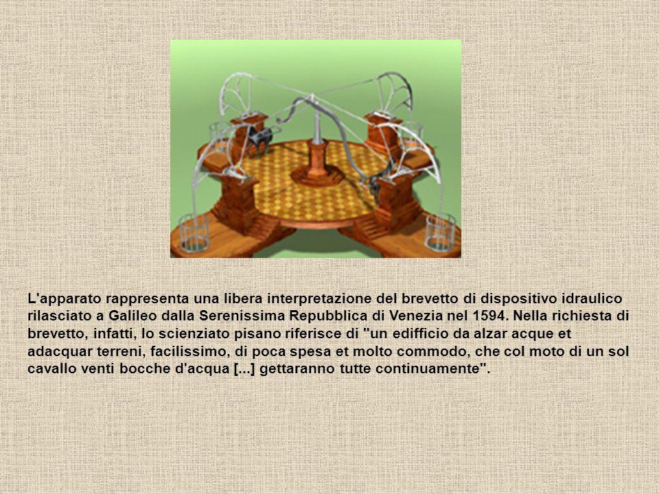 L'apparato rappresenta una libera interpretazione del brevetto di dispositivo idraulico rilasciato a Galileo dalla Serenissima Repubblica di Venezia n