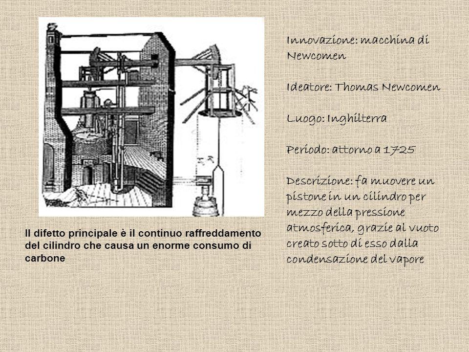 Innovazione: macchina di Newcomen Ideatore: Thomas Newcomen Luogo: Inghilterra Periodo: attorno a 1725 Descrizione: fa muovere un pistone in un cilind