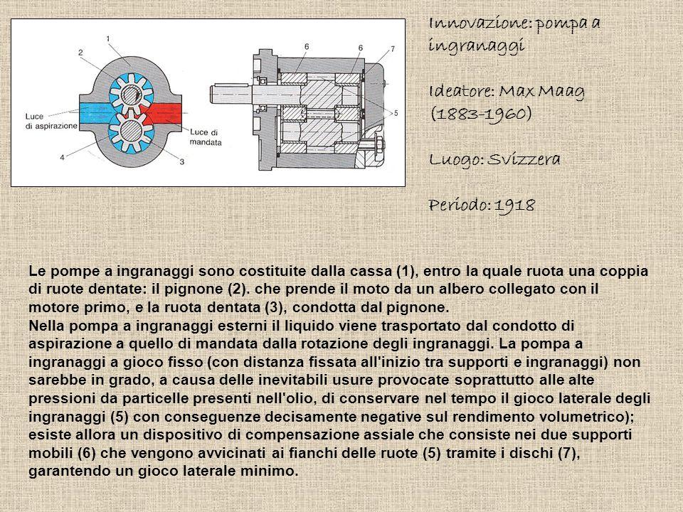 Innovazione: pompa a ingranaggi Ideatore: Max Maag (1883-1960) Luogo: Svizzera Periodo: 1918 Le pompe a ingranaggi sono costituite dalla cassa (1), en