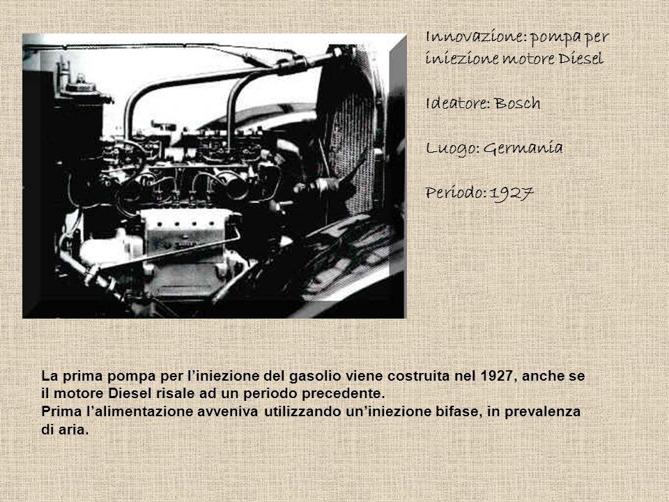 Innovazione: pompa per iniezione motore Diesel Ideatore: Bosch Luogo: Germania Periodo: 1927 La prima pompa per l'iniezione del gasolio viene costruit